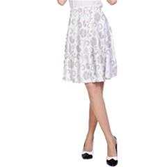 Elegant seamless Floral Ornaments Pattern A-Line Skirt