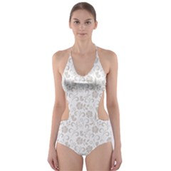 Elegant Seamless Floral Ornaments Pattern Cut Out One Piece Swimsuit