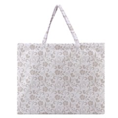Elegant Seamless Floral Ornaments Pattern Zipper Large Tote Bag
