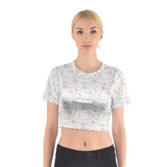 Elegant seamless Floral Ornaments Pattern Cotton Crop Top
