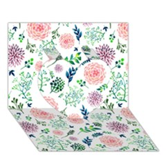 Hand Painted Spring Flourishes Flowers Pattern Heart 3D Greeting Card (7x5)