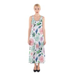 Hand Painted Spring Flourishes Flowers Pattern Full Print Maxi Dress