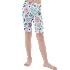 Hand Painted Spring Flourishes Flowers Pattern Kid s Mid Length Swim Shorts