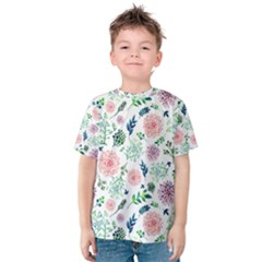 Hand Painted Spring Flourishes Flowers Pattern Kid s Cotton Tee