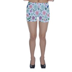 Hand Painted Spring Flourishes Flowers Pattern Skinny Shorts