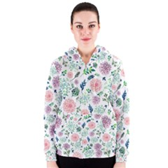 Hand Painted Spring Flourishes Flowers Pattern Women s Zipper Hoodie