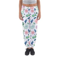 Hand Painted Spring Flourishes Flowers Pattern Women s Jogger Sweatpants