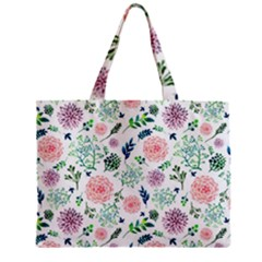Hand Painted Spring Flourishes Flowers Pattern Zipper Mini Tote Bag
