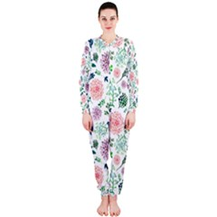 Hand Painted Spring Flourishes Flowers Pattern OnePiece Jumpsuit (Ladies)