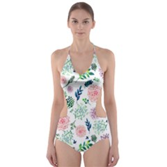 Hand Painted Spring Flourishes Flowers Pattern Cut-Out One Piece Swimsuit