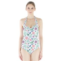 Hand Painted Spring Flourishes Flowers Pattern Women s Halter One Piece Swimsuit