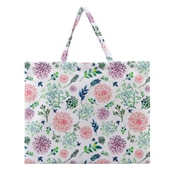 Hand Painted Spring Flourishes Flowers Pattern Zipper Large Tote Bag