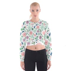 Hand Painted Spring Flourishes Flowers Pattern Women s Cropped Sweatshirt
