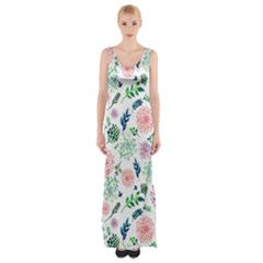 Hand Painted Spring Flourishes Flowers Pattern Maxi Thigh Split Dress