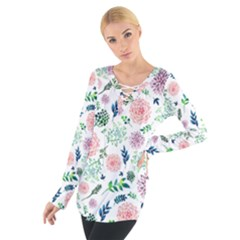 Hand Painted Spring Flourishes Flowers Pattern Women s Tie Up Tee