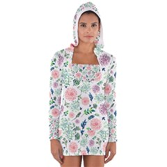 Hand Painted Spring Flourishes Flowers Pattern Women s Long Sleeve Hooded T-shirt