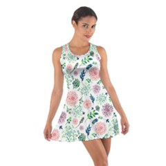 Hand Painted Spring Flourishes Flowers Pattern Racerback Dresses