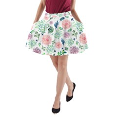Hand Painted Spring Flourishes Flowers Pattern A-Line Pocket Skirt