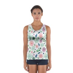 Hand Painted Spring Flourishes Flowers Pattern Tops