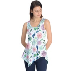 Hand Painted Spring Flourishes Flowers Pattern Sleeveless Tunic