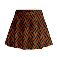 Woven2 Black Marble & Brown Burl Wood (r) Mini Flare Skirt