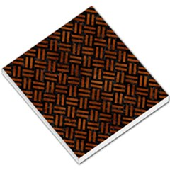 Woven2 Black Marble & Brown Burl Wood Small Memo Pads