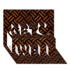 Woven2 Black Marble & Brown Burl Wood Get Well 3d Greeting Card (7x5)