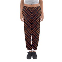 Woven2 Black Marble & Brown Burl Wood Women s Jogger Sweatpants