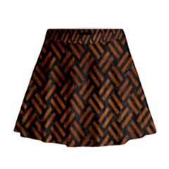 Woven2 Black Marble & Brown Burl Wood Mini Flare Skirt