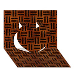 Woven1 Black Marble & Brown Burl Wood (r) Heart 3d Greeting Card (7x5)