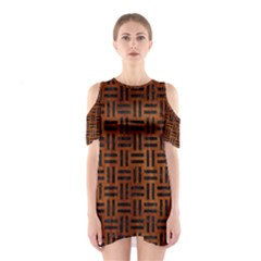 WOV1 BK MARBLE BURL (R) Cutout Shoulder Dress