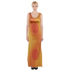 Sunny Happy Orange Dots Maxi Thigh Split Dress