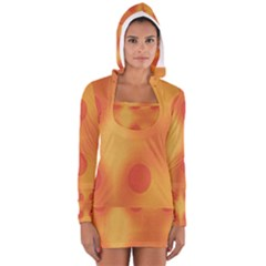 Sunny Happy Orange Dots Women s Long Sleeve Hooded T Shirt