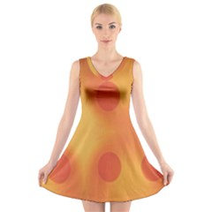 Sunny Happy Orange Dots V-Neck Sleeveless Skater Dress