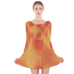 Sunny Happy Orange Dots Long Sleeve Velvet Skater Dress