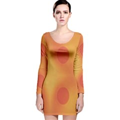 Sunny Happy Orange Dots Long Sleeve Velvet Bodycon Dress
