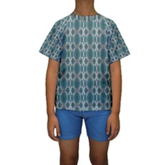 Tropical Blue Abstract Ocean Drops Kid s Short Sleeve Swimwear
