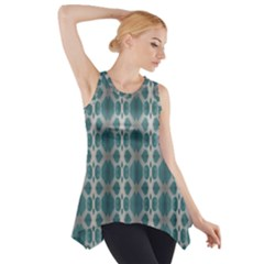 Tropical Blue Abstract Ocean Drops Side Drop Tank Tunic