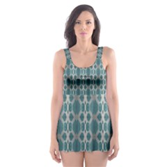 Tropical Blue Abstract Ocean Drops Skater Dress Swimsuit