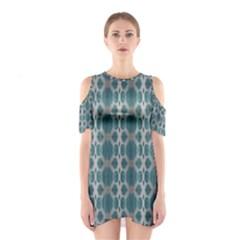 Tropical Blue Abstract Ocean Drops Cutout Shoulder Dress