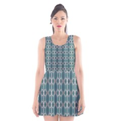 Tropical Blue Abstract Ocean Drops Scoop Neck Skater Dress