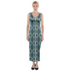 Tropical Blue Abstract Ocean Drops Fitted Maxi Dress