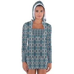 Tropical Blue Abstract Ocean Drops Women s Long Sleeve Hooded T Shirt