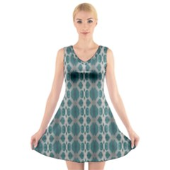 Tropical Blue Abstract Ocean Drops V-Neck Sleeveless Skater Dress