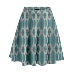 Tropical Blue Abstract Ocean Drops High Waist Skirt
