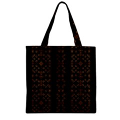 Dark Arabic Stripes Zipper Grocery Tote Bag