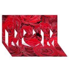 Red Roses Love Mom 3d Greeting Card (8x4)
