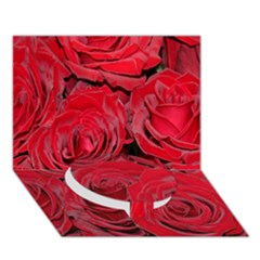 Red Roses Love Circle Bottom 3D Greeting Card (7x5)