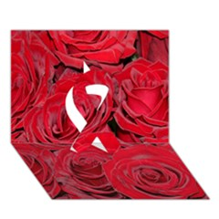Red Roses Love Ribbon 3D Greeting Card (7x5)