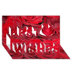 Red Roses Love Best Wish 3d Greeting Card (8x4)